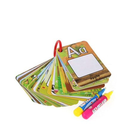 JOYFEEL Clearance 2019 Water Drawing 26 English Early Learning card Magic with 2 Pen letter 3D card Painting Board Best Toy Gifts for Children
