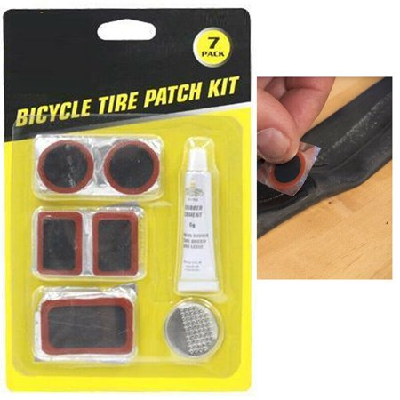 7 Pcs Bicycle Bike Flat Tire Repair Kit Cycling Patch Rubber Glue Set Fix