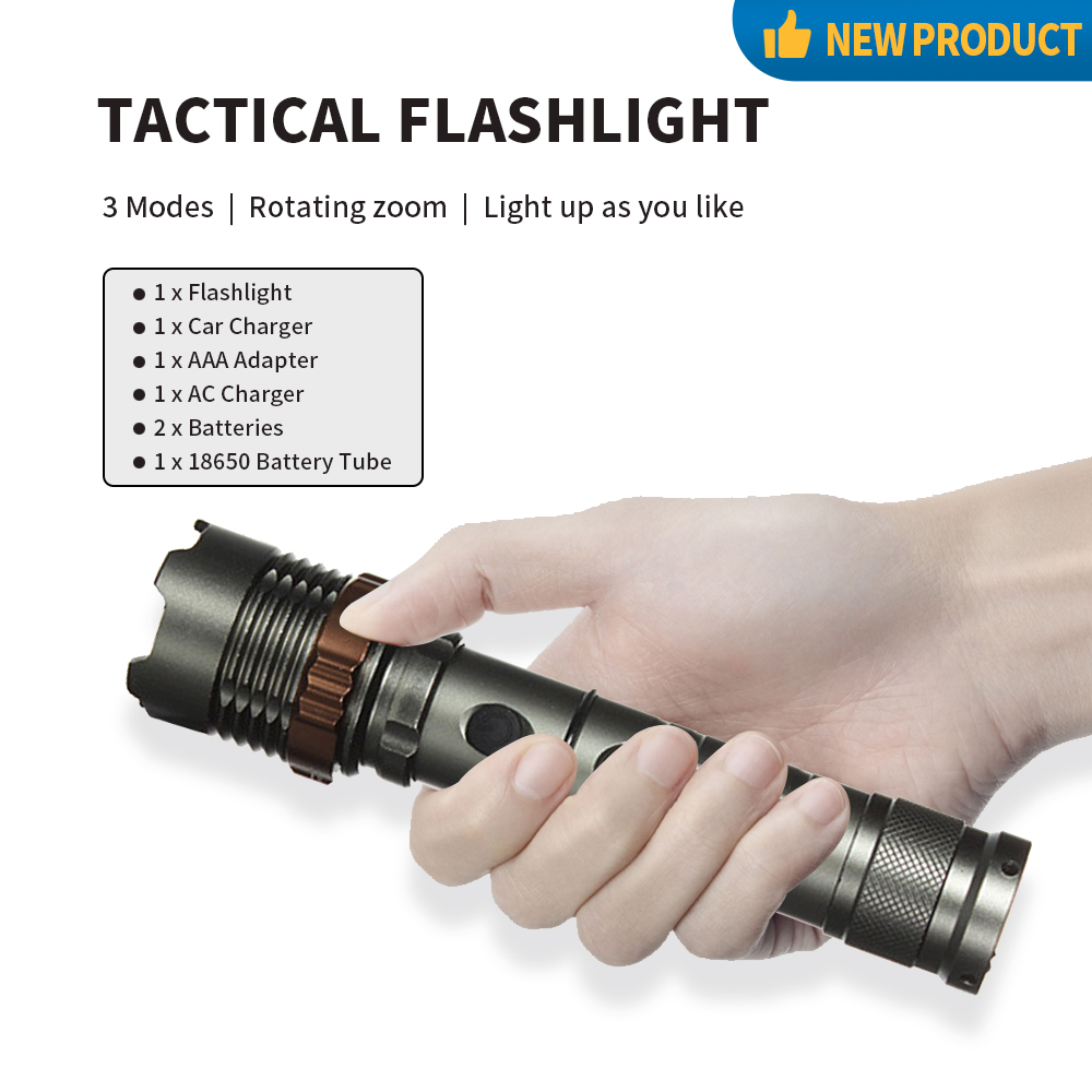 Details about  /2000 Lumen Waterproof LED Flashlight /& FREE Chargers /& 18650 Batteries
