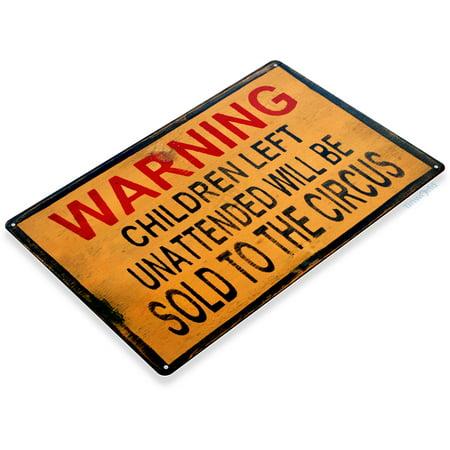 TIN SIGN Warning Children Circus Art Halloween Décor Kitchen Store Bar A670 - Church Signs For Halloween