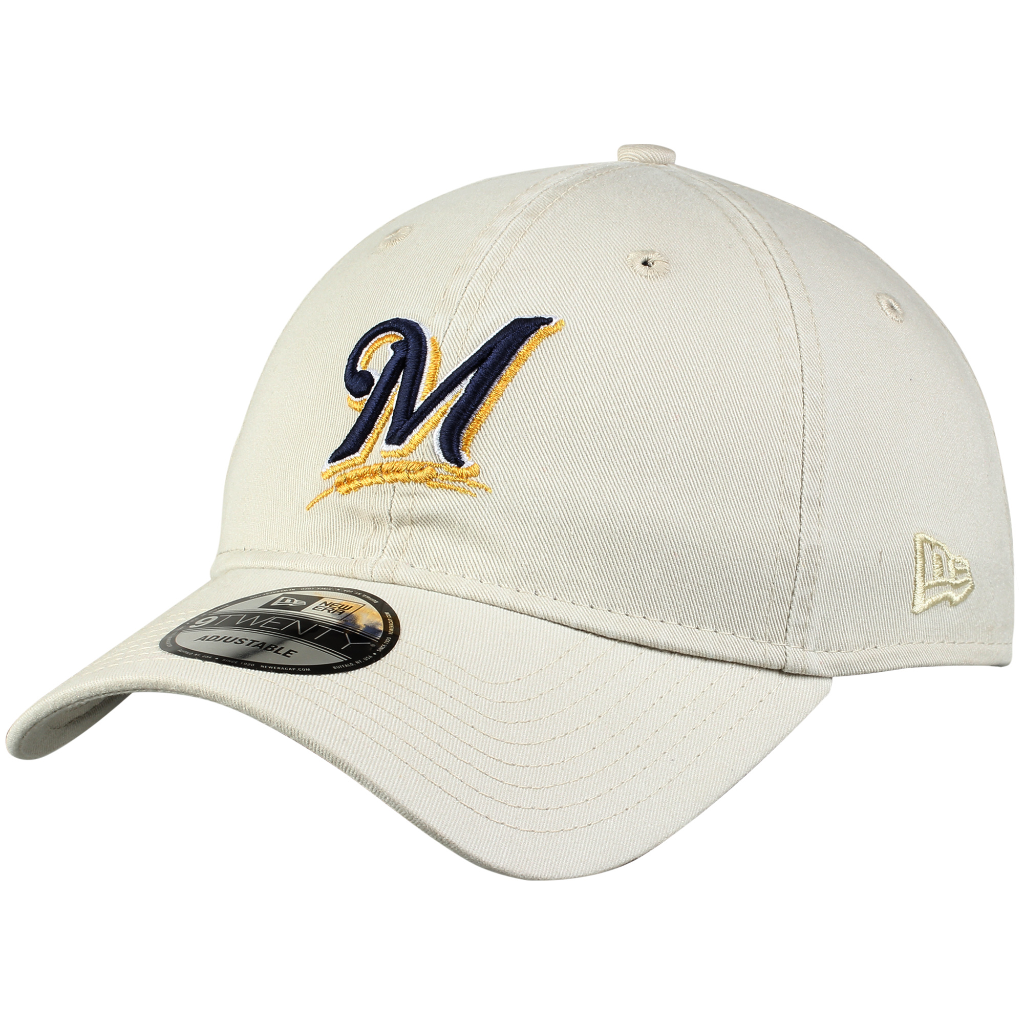 Milwaukee Brewers New Era Core Classic 9TWENTY Adjustable Hat - Stone - OSFA