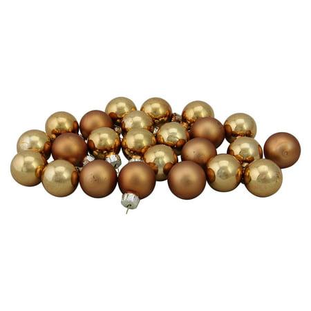 24-Piece Shiny and Matte Copper Orange Glass Ball Christmas Ornament Set 1