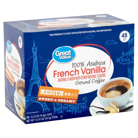 Roasted Ground Coffee Vanilla Bean (Great Value 100% Arabica French Vanilla Coffee Pods, Medium Roast, 48)