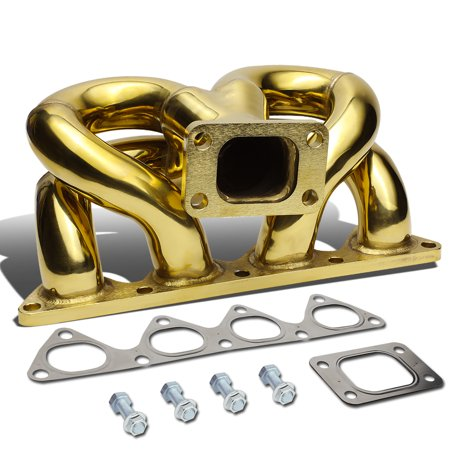 For 1988 to 1991 Honda Civic / CRX D15 D16 / 1993 to 1997 Del So Anodized Stainless Steel 42mm T3 Ram Horn Exhaust Turbo Manifold](Ram Horns)