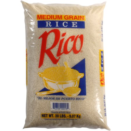 Rico Medium Grain Rice, 20 lb