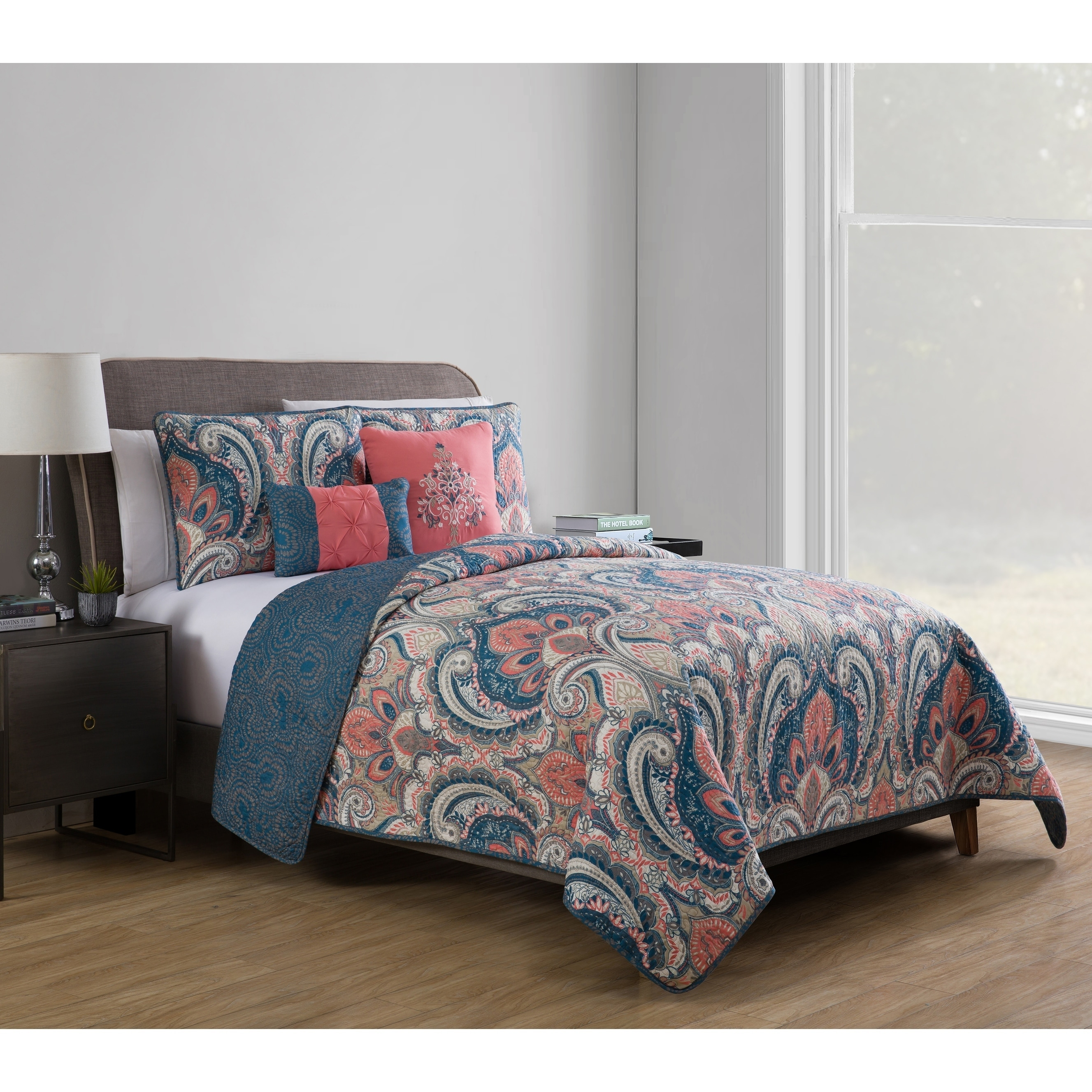 vcny home multi color casa re al 5 piece bedding quilt set shams rh walmart com