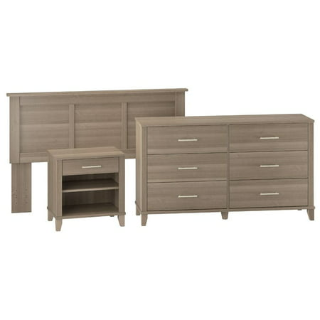 Bush Somerset Headboard with Nightstand and Dresser Set in Ash Gray ()