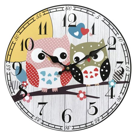 Two-Bird Wooden Clock ; Product size: 13