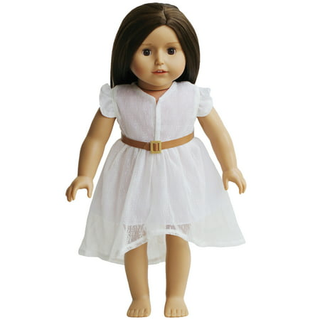 White Lace Dress and Belt for Dolls- 18 inch Doll Clothes