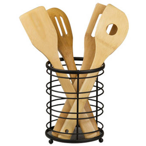 Home Basics Chrome Wire Collection Cutlery Holder, Black
