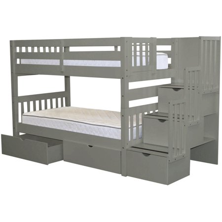 Bedz King Stairway Bunk Beds Twin over Twin with 3 Drawers in the Steps and 2 Under Bed Drawers Gray