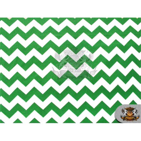 """100% Cotton Large Chevron Print Fabric KELLY GREEN / 45"""" Wide / Sold by the yard"""