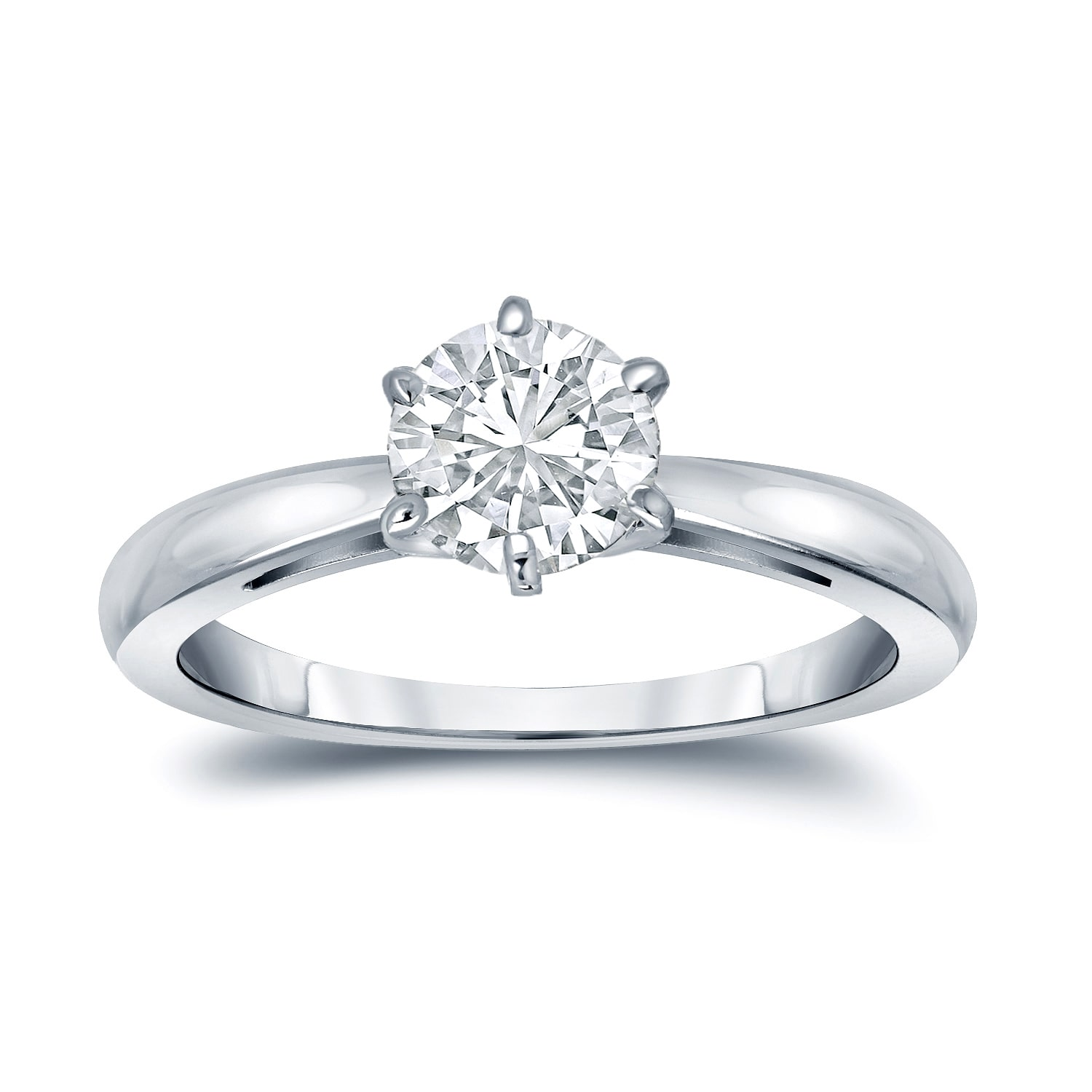 Auriya  GIA Certified 14k White Gold 6-Prong 1 ct. TDW Round-Cut Diamond Solitaire Eng