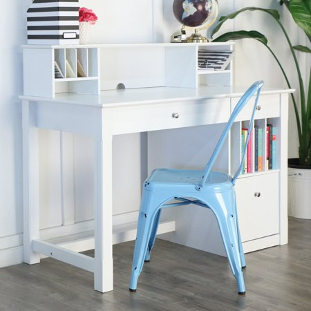 Stupendous Walker Edison Deluxe Wood Desk With Hutch White Interior Design Ideas Skatsoteloinfo