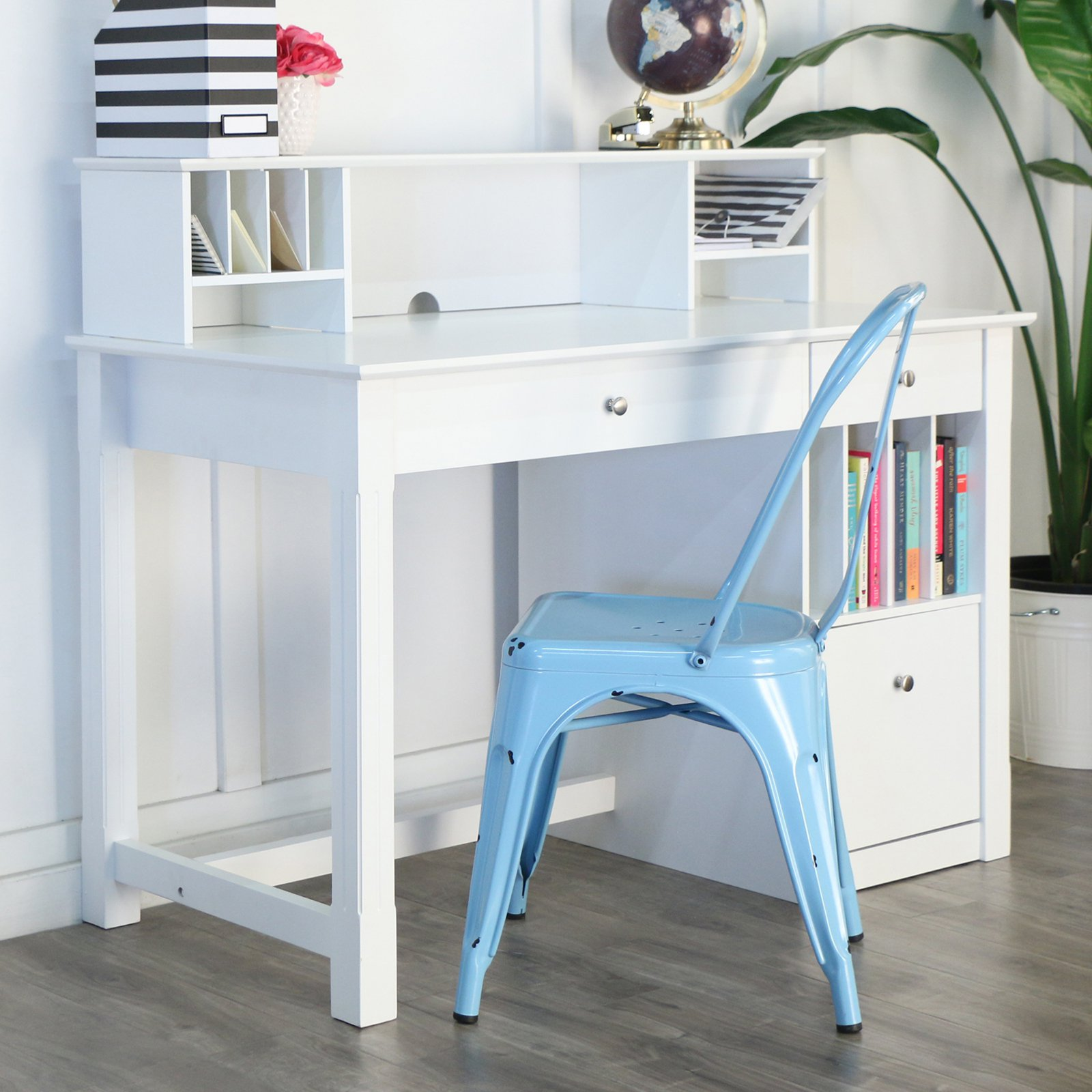 Walker Edison Deluxe Wood Desk with Hutch - White