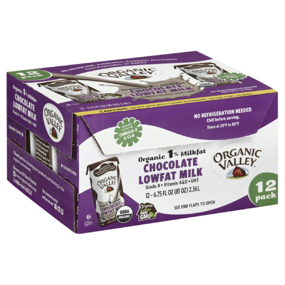 Organic Valley 1% Milkfat Chocolate Organic Lowfat Milk, 6.75 Oz (Pack of 12)