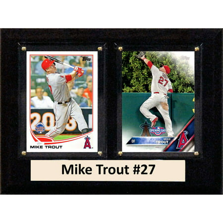 C&I Collectables MLB 6x8 Mike Trout Los Angeles Angels 2-Card Plaque