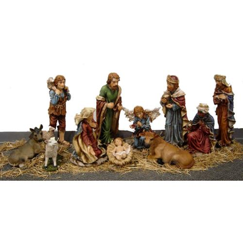 Large 12-Piece Nativity Set w/ the Holy Family, Wise Men, Angel, Animals, & More