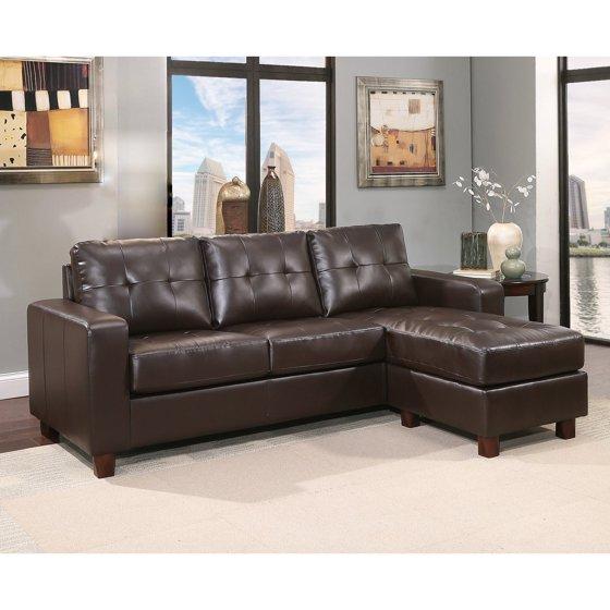 Awe Inspiring Abbyson Taylor Leather Reversible Sectional And Ottoman Creativecarmelina Interior Chair Design Creativecarmelinacom