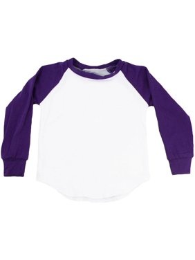 Product Image Unisex Little Kids Purple Two Tone Long Sleeve Raglan  Baseball T-Shirt 82b2fc5e1ee