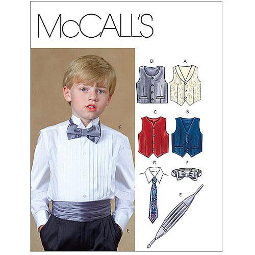 McCall's Pattern Children's and Boys' Lined Vests, Cummerbund, Bow Tie and Necktie, CCE (3, 4, 5, 6)
