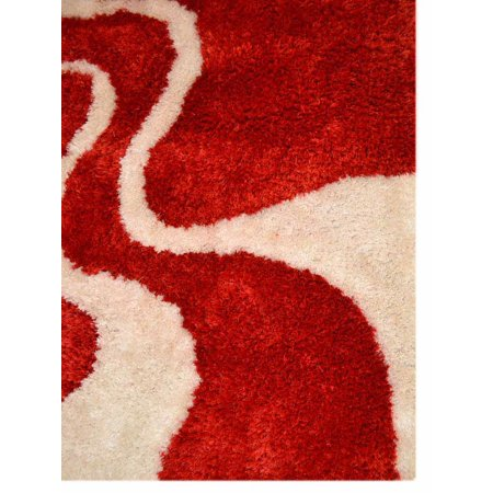 Rugsotic Carpets Hand Tufted Polyester 8 X10 Area Rug Contemporary Red White K00003