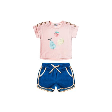 45b8cb77f Petit Lem - Fruit Tee and Metallic Trim Chambray Short, 2-Piece Outfit Set  (Little Girls & Big Girls) - Walmart.com