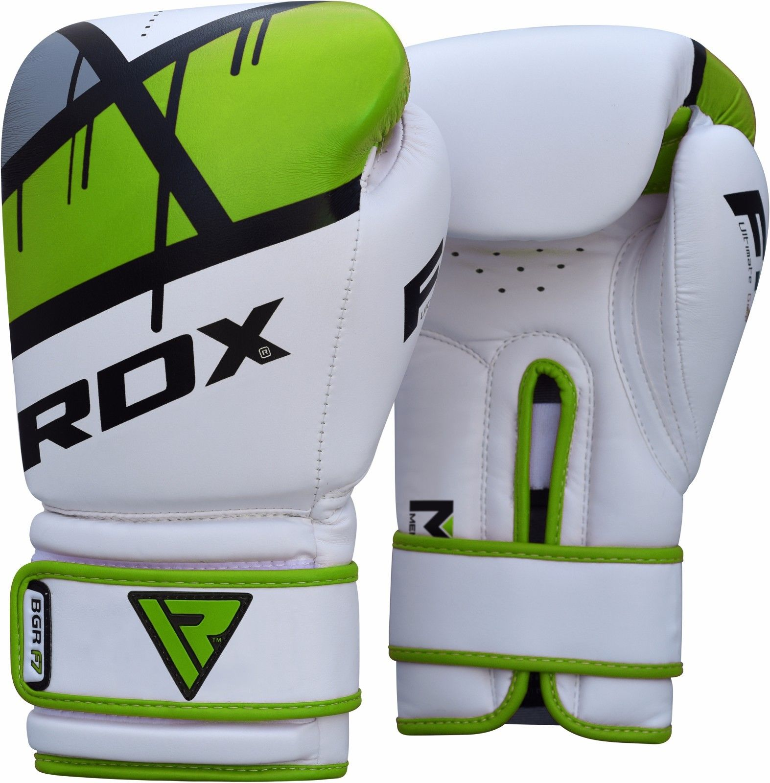 RDX F7 Leather Boxing Gloves, 12oz, Green
