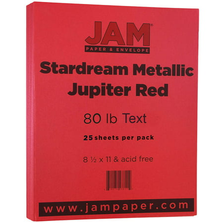 JAM Paper Metallic Paper, 8.5 x 11, 32lb Jupiter Red Stardream Metallic, 25 (Reg Text Paper)