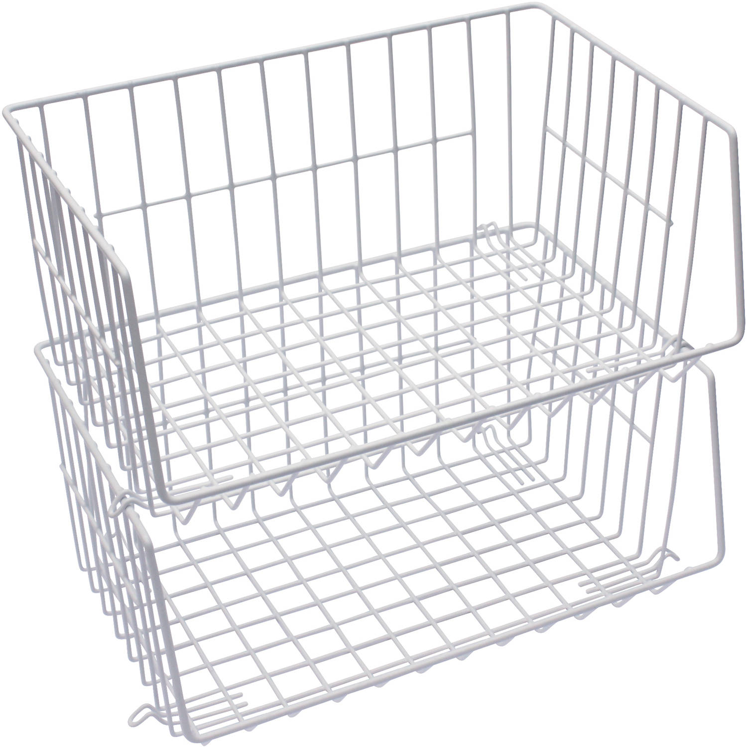 Mainstays Stacking Baskets, White, 2pk
