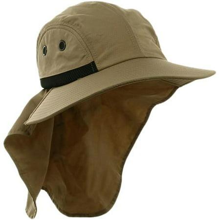 MG Khaki Brown Juniper 4 Panel Nylon Safari Wide Brim Flap Cap UV Fishing -