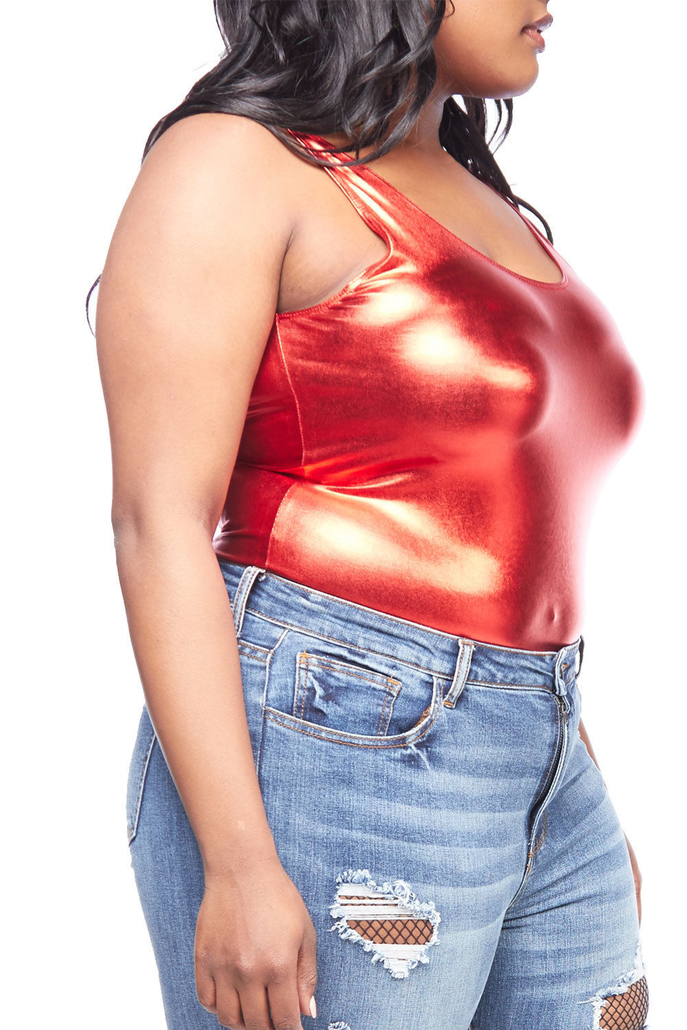 7bcca7f4657 Womens Plus Size Sexy Solid Sleeveless Bling Tank Back Open Bodysuit  1762-2XL-Red