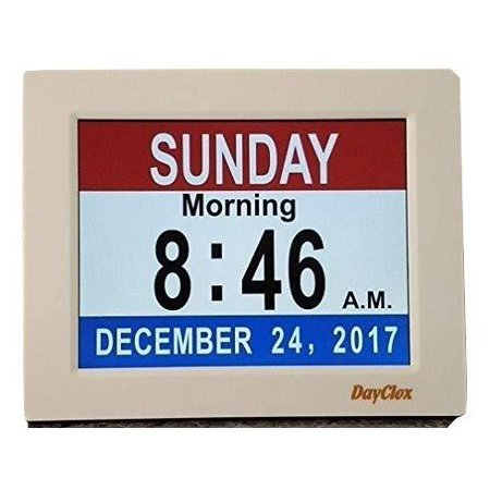 Calendar Black Leather Strap - DayClox Memory Loss Digital Calendar 5-Cycle Clock with Red White & Blue or Black & White Section Display