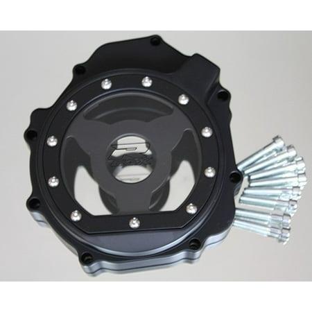 """HTT- Billet Aluminum Engine Stator Cover See Through """"GSXR"""" Logo For 2004-2005 Suzuki GSXR 600 750 / 2003-2004 Suzuki GSXR1000 Black Left"""