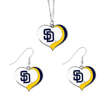 MLB SAN Diego Padres Glitter Heart Necklace and Earring Set Charm Gift - image 1 de 1
