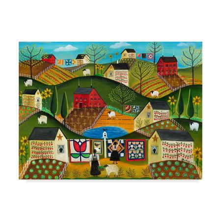 Trademark Fine Art 'Country Garden Folk Art Quilts' Canvas Art by Cheryl Bartley - Folk Art Halloween Quilts