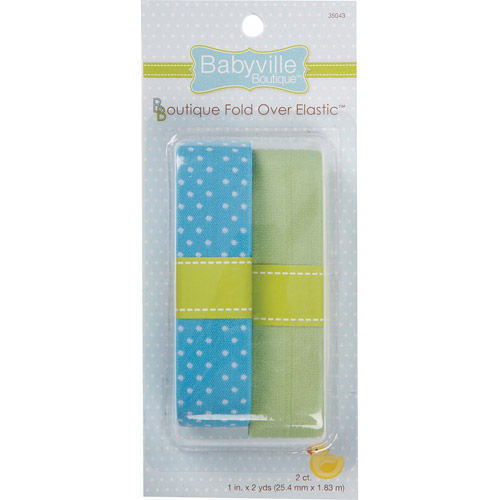 Dritz Babyville Boutique Elastic, Blue with Dots/Green