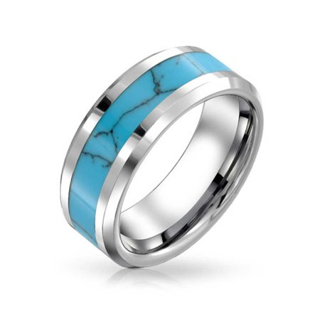 Simulated Blue Turquoise Inlay Couples Wedding Band TungstenRingsForMen For Women Silver Tone (Three Inlay Turquoise Stones Ring)