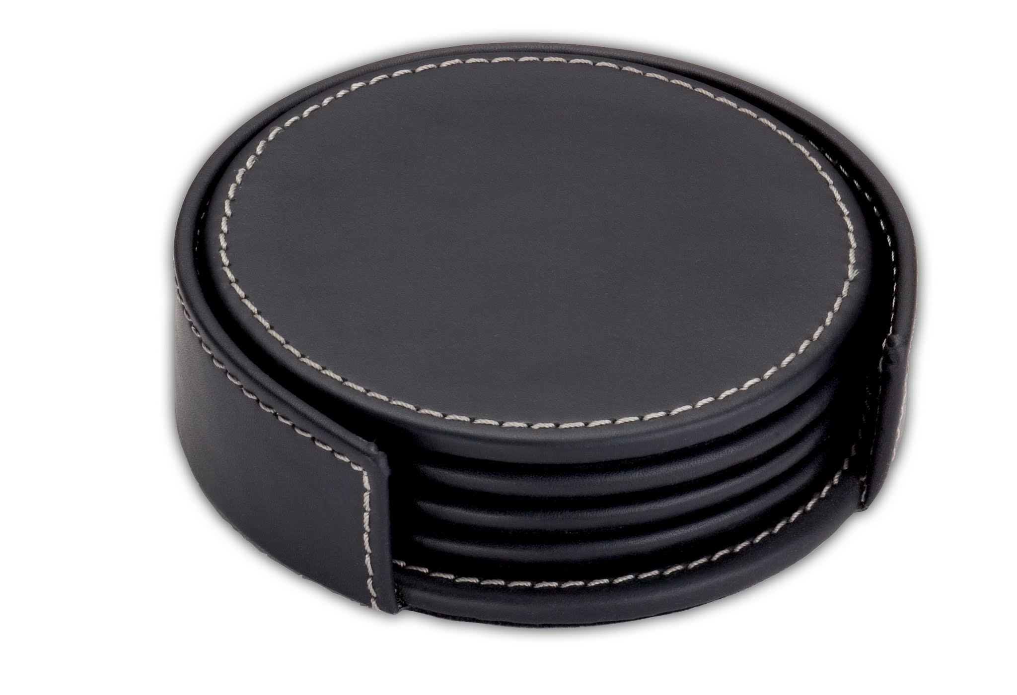 Rustic Black Leather Coaster Set with Holder by Dacasso