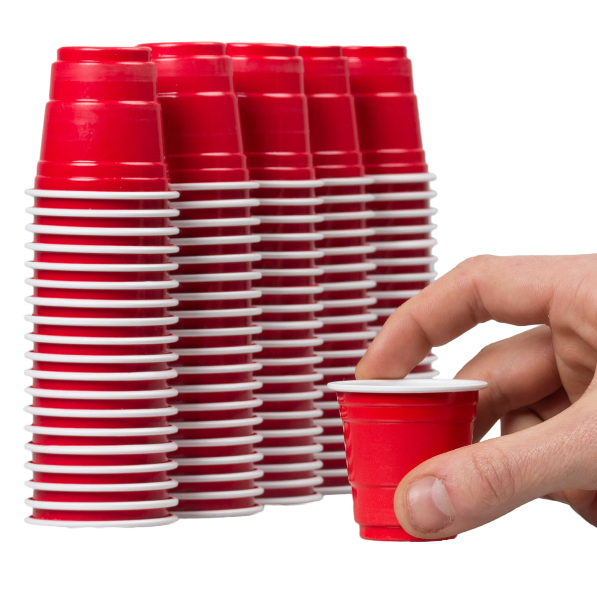 120ct Mini Red Cups 2oz Plastic Disposable Shot Glasses Party Shooter Beer Pong Jello by