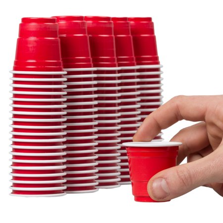 120ct Mini Red Cups 2oz Plastic Disposable Shot Glasses Party Shooter Beer Pong Jello - Solo Cup Lights