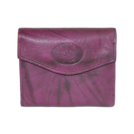 Women's Leather Mini Trifold Wallet with Floral (Brown Embossed Leather Tri Fold)