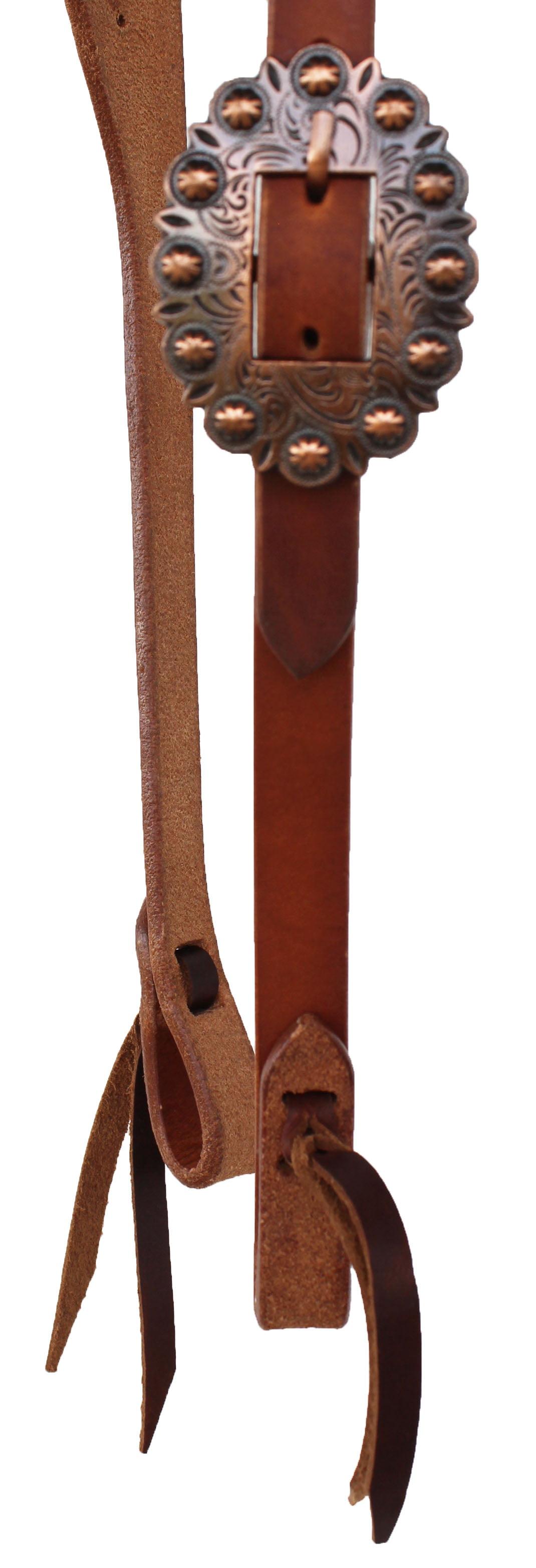 Horse Tan Leather Adjustable Split Ear Headstall w// Tie Ends 975H365