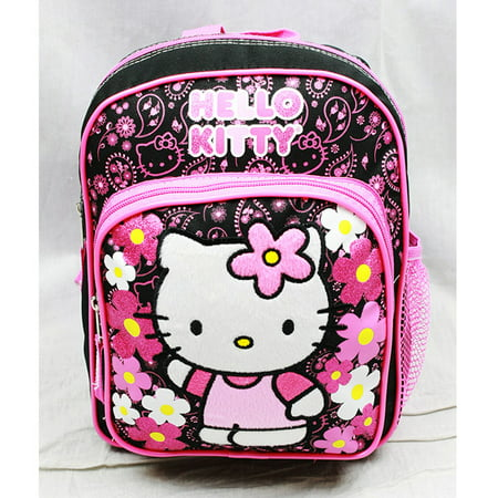 Hello Kitty Bag Pack (Mini Backpack - Hello Kitty - Flowers Black  New School Bag Book Girls)