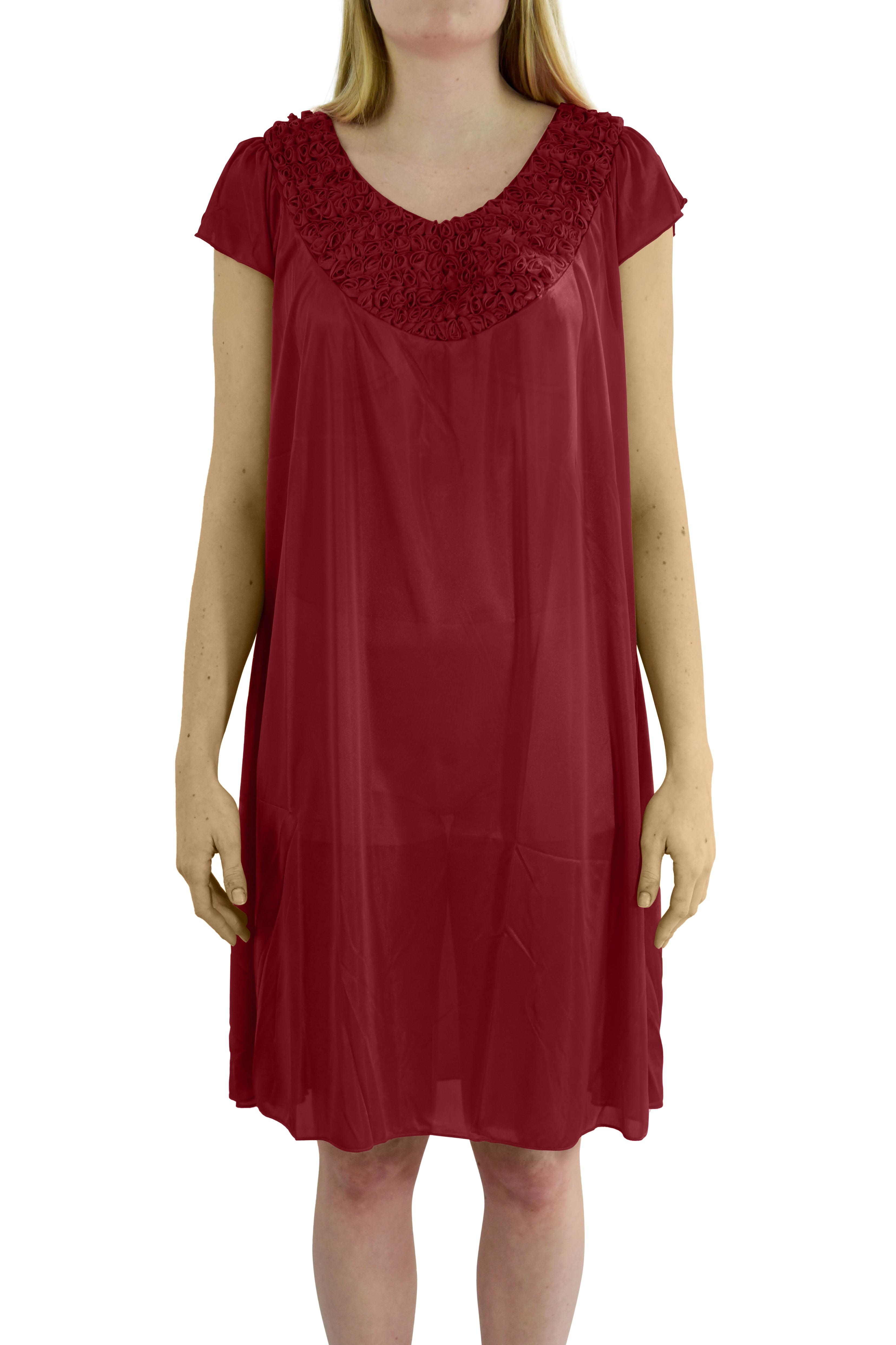 EZI Women's 'Stacy' Cap Sleeve Satin Nightgown