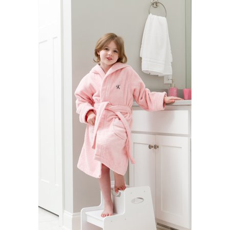 3e8bfb9a50 Linum Home - Linum Home Sweet Kids Turkish Cotton Terry Pink with Black  Script Monogram Hooded Bathrobe - Walmart.com