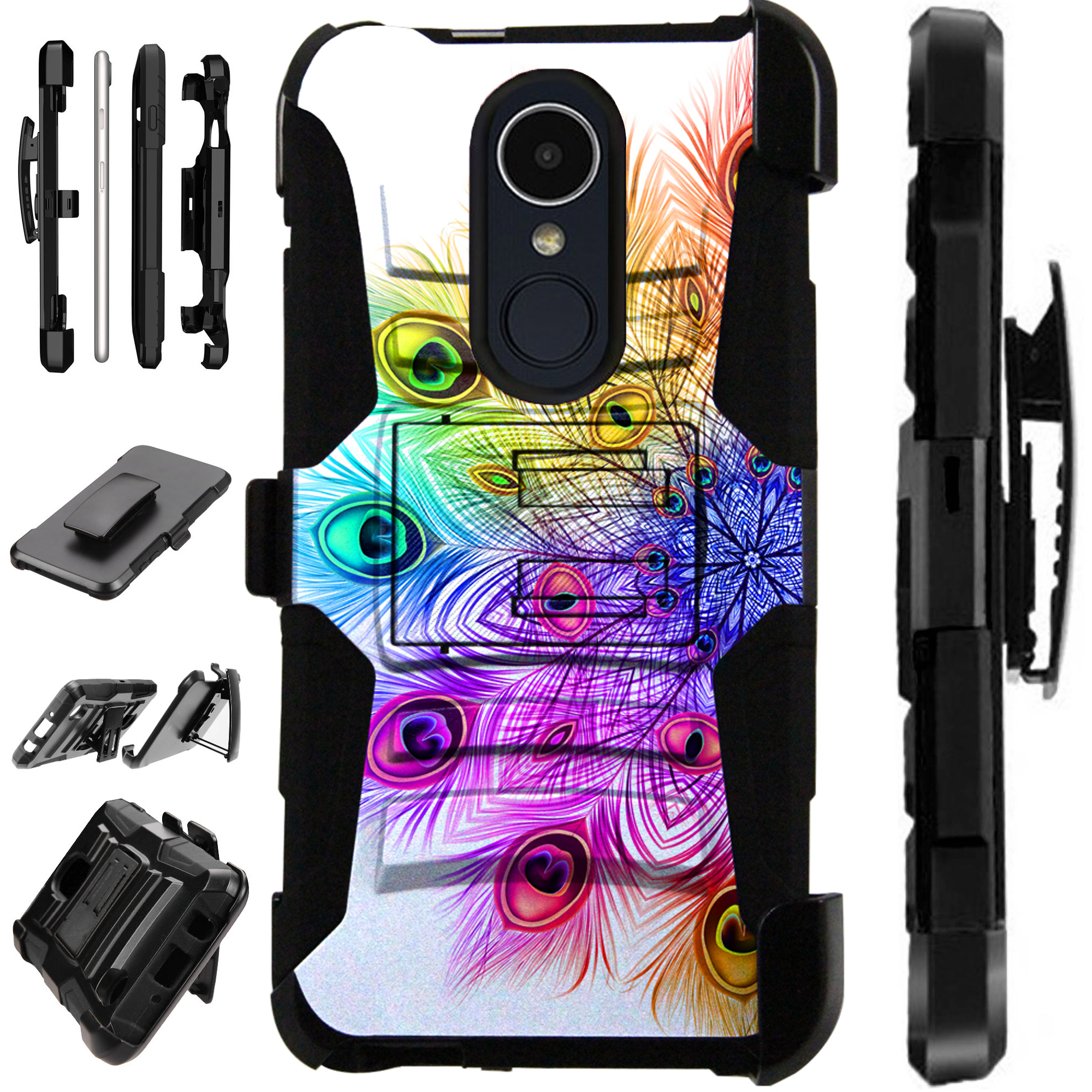 For LG Xpression Plus (2018) Case Armor Hybrid Silicone Cover Stand LuxGuard Holster (Rainbow Peacock)