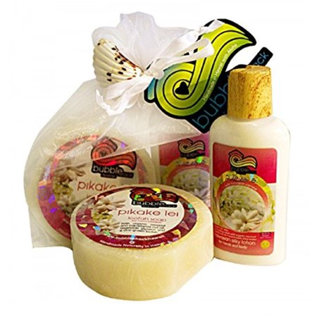(Hawaii Bubble Shack Loofah Soap & Body Lotion Duo Gift Set Pikake Lei)