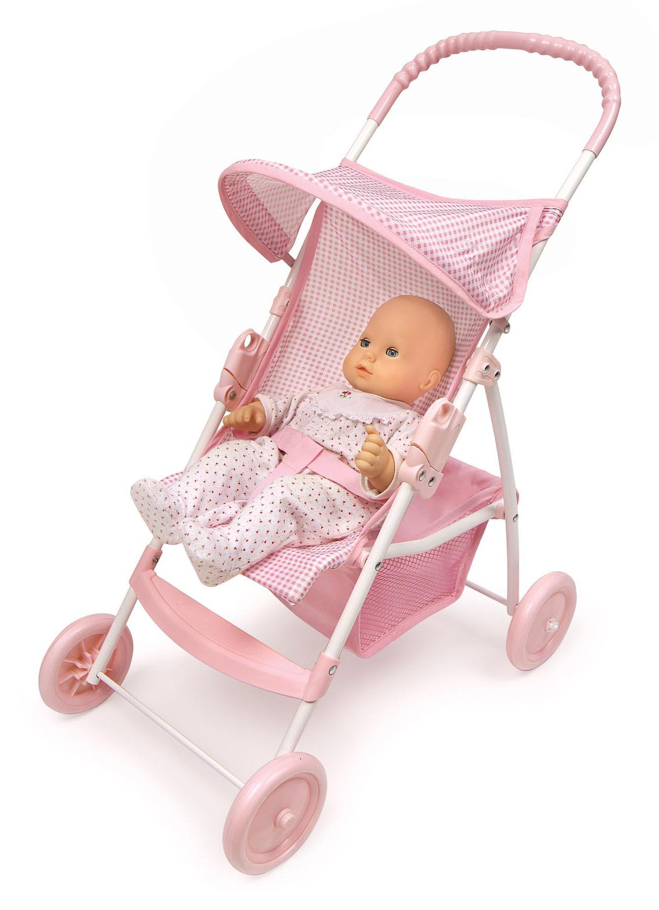 "Badger Basket Folding Doll Umbrella Stroller Pink Gingham Fits American Girl My Life As & Most 18"" Dolls Walmart"