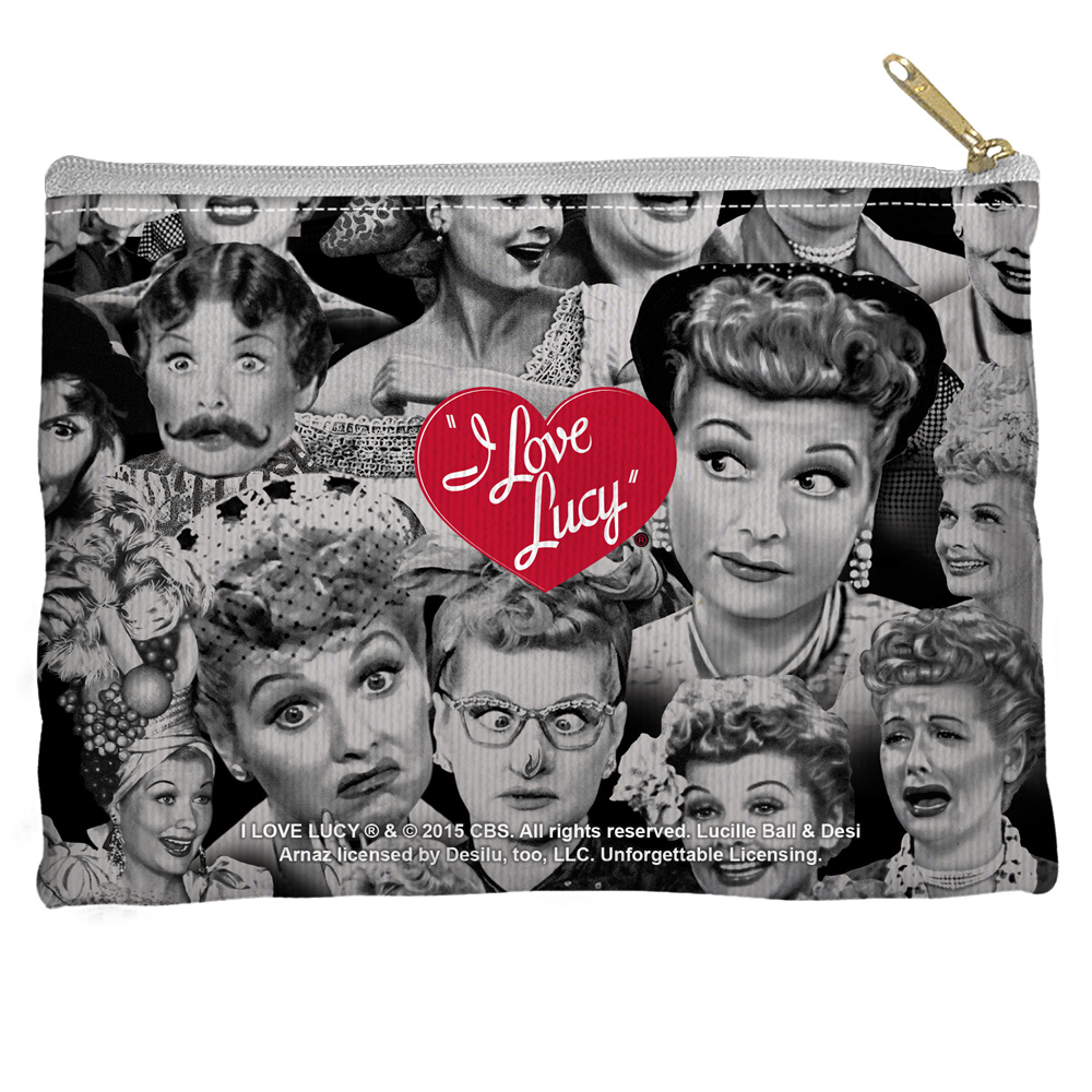 I Love Lucy Faces Accessory Pouch White 8.5X6